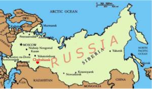 Figure 1: Chelyabinsk, Russia shown in red.