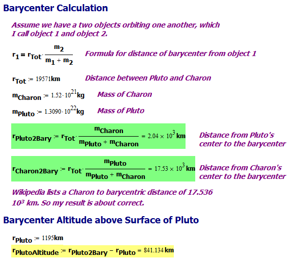 Figure 3: Pluto-Charon Calculations.