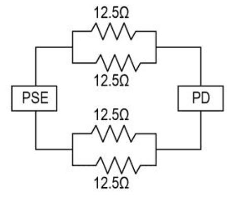 Figure 4: Resistive Circuit Model for PoE.