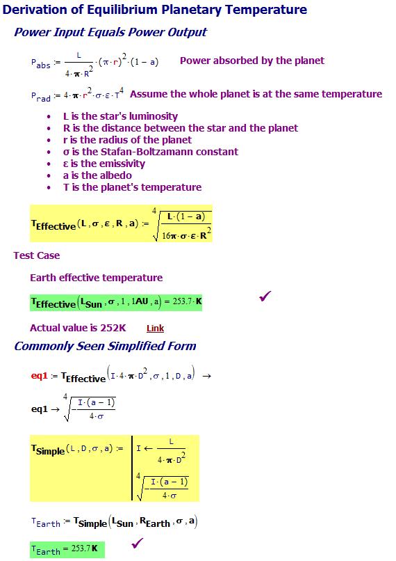 Figure M: Derviation of Formula for Effective Temperature of a Planet.