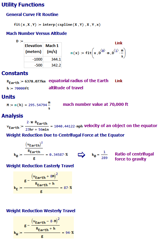 Figure 2: My Analysis of the Weight Reduction at the Equator.