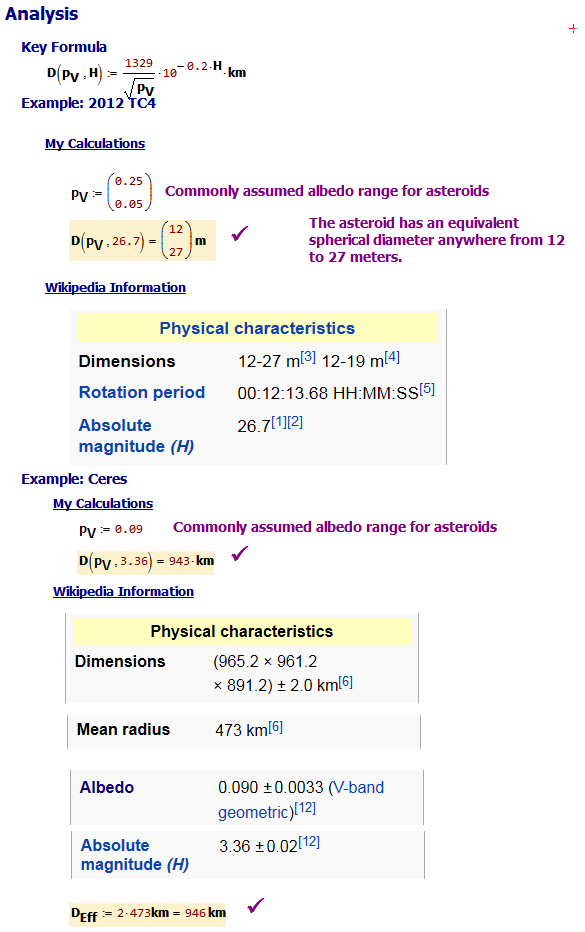 Figure 3: Calculations for Two Asteroids.