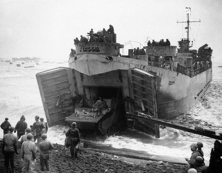 Figure M: LST Unloading at Iwo Jima.